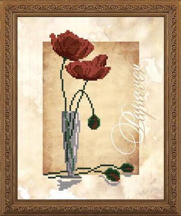 """Рисунок на ткани для вышивания бисером """"Маки"""", фото 2"""