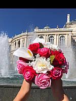 Букет з ніжних мильних троянд в коробці форми серця, фото 1