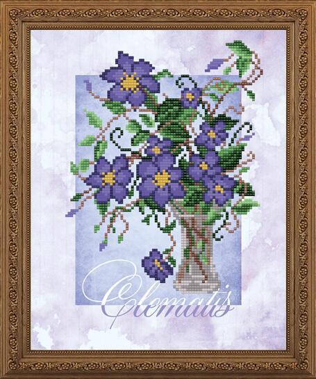 """Рисунок на ткани для вышивания бисером """"Клематис"""""""