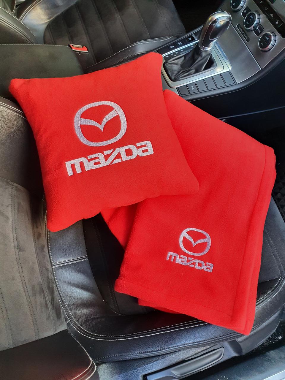 """Автомобільний набір: подушка і плед з логотипом """"Mazda"""" колір на вибір"""