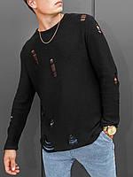 Свитер вязаный мужской черного цвета