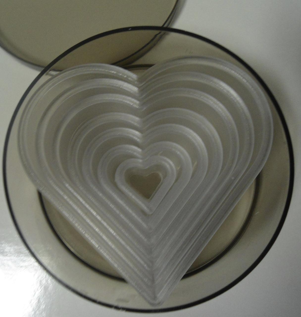 """Набор вырубки """"сердце"""" пластмассовые в тубусе(код04636)"""