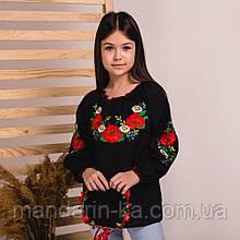 Вишиванка moderika ранкова роса чорна з квітковою вишивкою