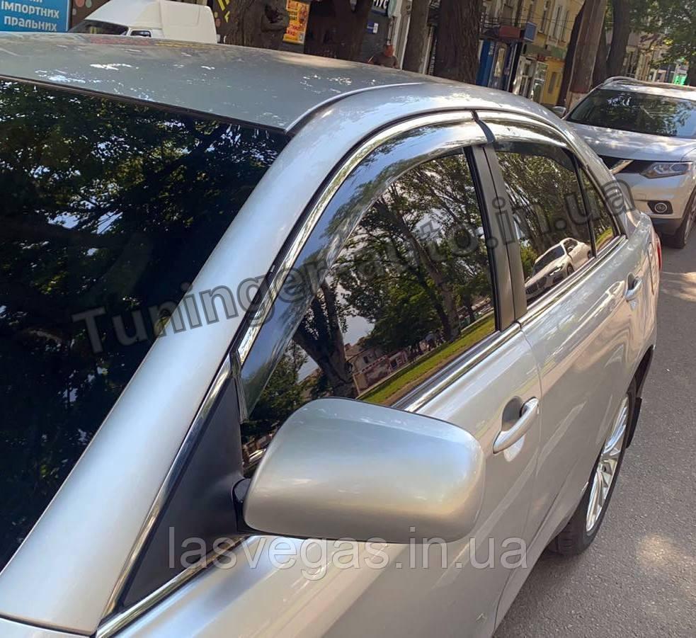 Дефлектори вікон з хром моолдингом, вітровики Toyota Camry V40 2006-2011