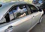 Дефлектори вікон з хром моолдингом, вітровики Toyota Camry V40 2006-2011, фото 2