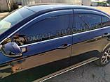 Дефлектори вікон з хром молдингом, вітровики Volkswagen Passat B8 2014- (Uncle), фото 2