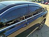 Дефлектори вікон з хром молдингом, вітровики Volkswagen Passat B8 2014- (Uncle), фото 4