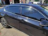 Дефлектори вікон з хром молдингом, вітровики Volkswagen Passat B8 2014- (Uncle), фото 6