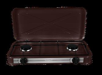 Настільна газова плита-таганок Mirta GS-1002LB на 2 конфорки з кришкою
