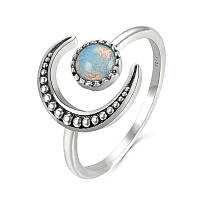 Срібне кільце Місячний камінь 925 проби №1, фото 1