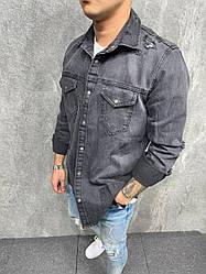 Мужская джинсовая рубашка классическая (серая) AG4188 молодежный стиль одежды