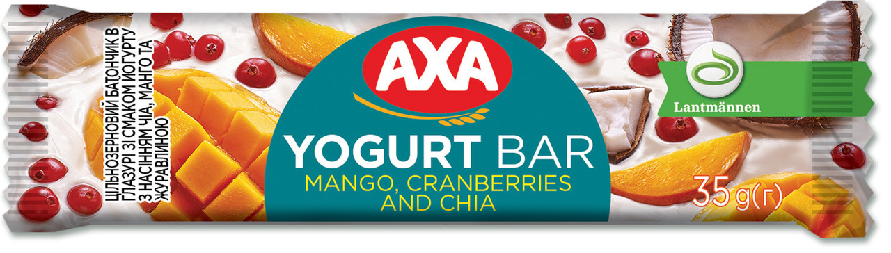 Батончик АХА в глазурі зі смаком йогурту з насінням чіа, манго та журавлиною 35 г