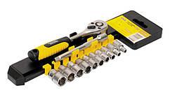"Набір насадок торцевих MASTERTOOL PROFI CrV 1/4"" 4-13 мм подовжувач 100 мм тріскачка 72Т 12 шт 78-1412"