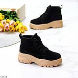Жіночі черевики ДЕМІ чорні з бежевим на шнурівці нубук еко, фото 2
