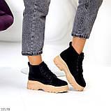Жіночі черевики ДЕМІ чорні з бежевим на шнурівці нубук еко, фото 3
