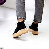 Жіночі черевики ДЕМІ чорні з бежевим на шнурівці нубук еко, фото 6