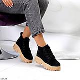 Жіночі черевики ДЕМІ чорні з бежевим на шнурівці нубук еко, фото 8