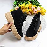 Жіночі черевики ДЕМІ чорні з бежевим на шнурівці нубук еко, фото 9
