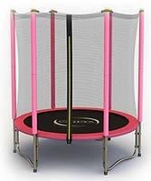 Батут 140 см. усиленный с сеткой Sapphire RINGO розовый, фото 1
