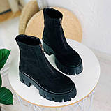 Женские ботинки ДЕМИ черные спереди молния натуральная замша, фото 3