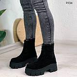 Женские ботинки ДЕМИ черные спереди молния натуральная замша, фото 4