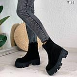 Женские ботинки ДЕМИ черные спереди молния натуральная замша, фото 5
