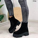 Женские ботинки ДЕМИ черные спереди молния натуральная замша, фото 6