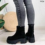 Женские ботинки ДЕМИ черные спереди молния натуральная замша, фото 7