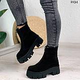 Женские ботинки ДЕМИ черные спереди молния натуральная замша, фото 8