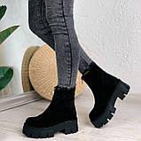Женские ботинки ДЕМИ черные спереди молния натуральная замша, фото 9