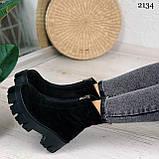 Женские ботинки ДЕМИ черные спереди молния натуральная замша, фото 10
