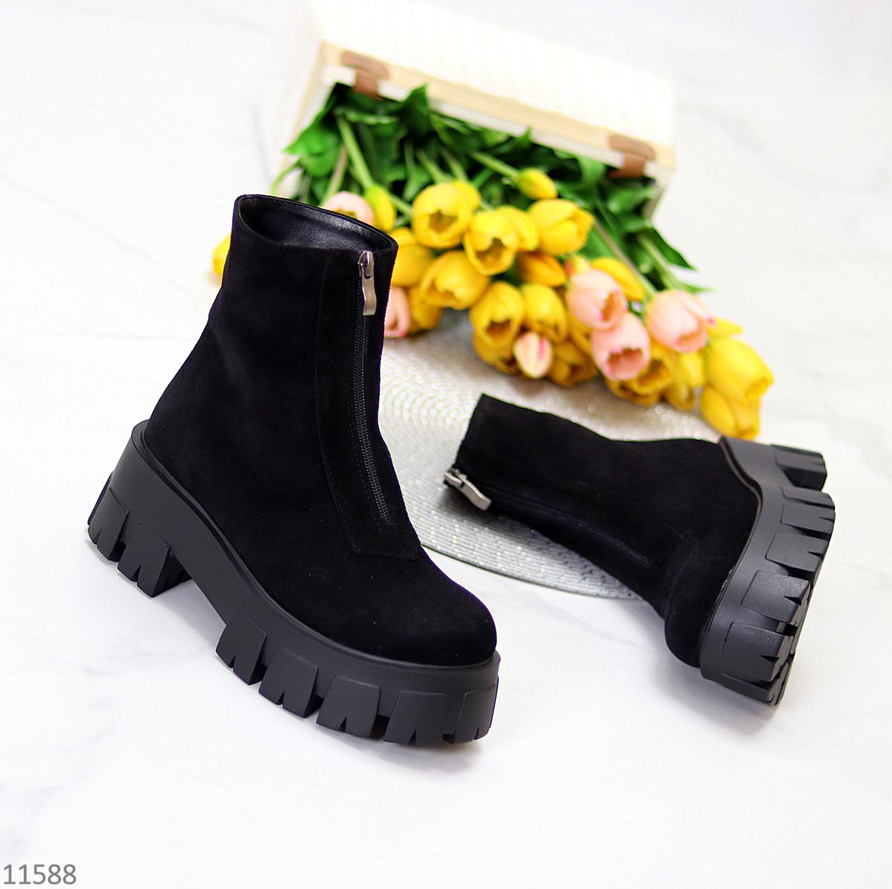 Женские ботинки ДЕМИ черные спереди молния натуральная замша