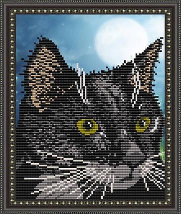 """Рисунок на ткани для вышивания бисером """"Черный кот"""", фото 2"""