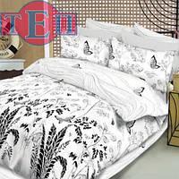 """Дешевый и натуральный комплект постельного белья """"Бабочки белые"""" Premium бязь."""