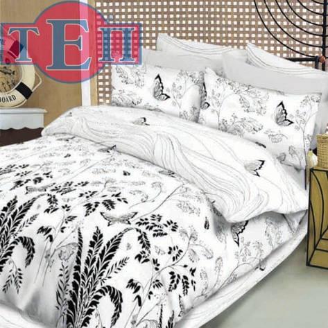 """Дешевий і натуральний комплект постільної білизни """"Метелики білі"""" Premium бязь., фото 2"""