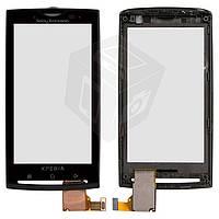 Touchscreen (сенсорный экран) для Sony Ericsson X10, с передней панелью, оригинал (черный)