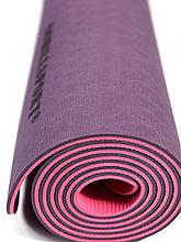 Килимок для йоги TPE 183 х 61 х 0,6 см 2-х шаровий Фіолетово-рожевий