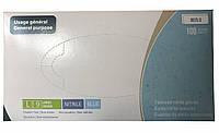 Перчатки нитриловые текстурированные без пудры нестерильные Medicom SafeTouch Slim Blue размер L 100шт