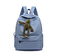Женский тканевый рюкзак с брелком голубого цвета