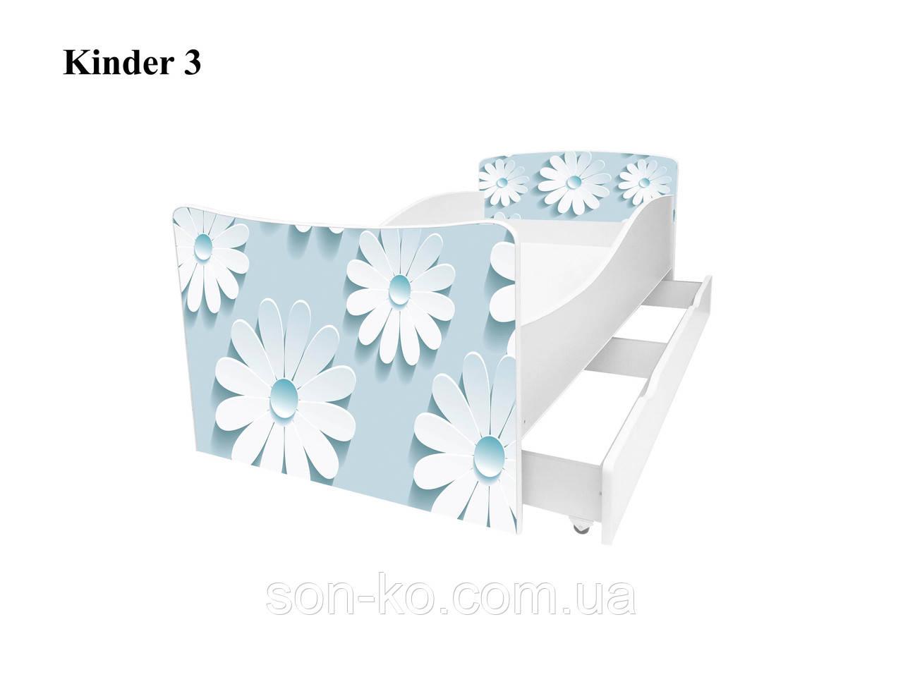 Кровать детская Киндер Цветочки, бабочки, сердечки. Бесплатная доставка