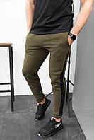 Штани чоловічі спортивні утеплені хакі з лампасами. Чоловічі спортивні штани кольору хакі., фото 1