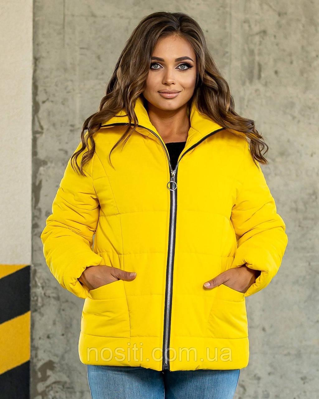 Батальна жіноча куртка з високим коміром на синтепоні
