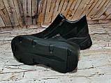 Жіночі високі класичні чорні замшеві черевики на блискавці, фото 3