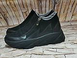 Жіночі високі класичні чорні замшеві черевики на блискавці, фото 2