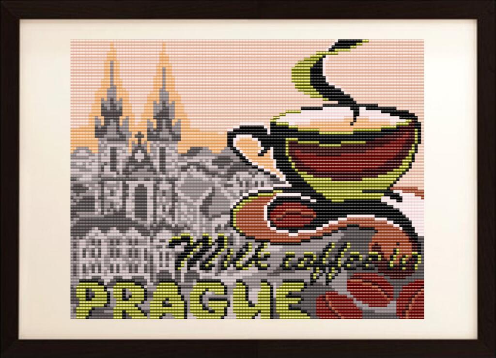 """Рисунок на ткани для вышивания бисером """"на кофе с молоком в Праге"""""""