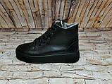 Женские высокие классические черные ботинки на шнуровке, фото 2