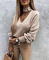 Жіночий стильний светр з оригінальним коміром з м'якої ангори, фото 1