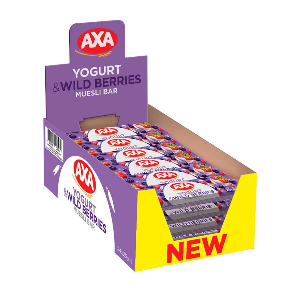 Батончики АХА зі смаком йогурту та лісовими ягодами 25 г 24 шт