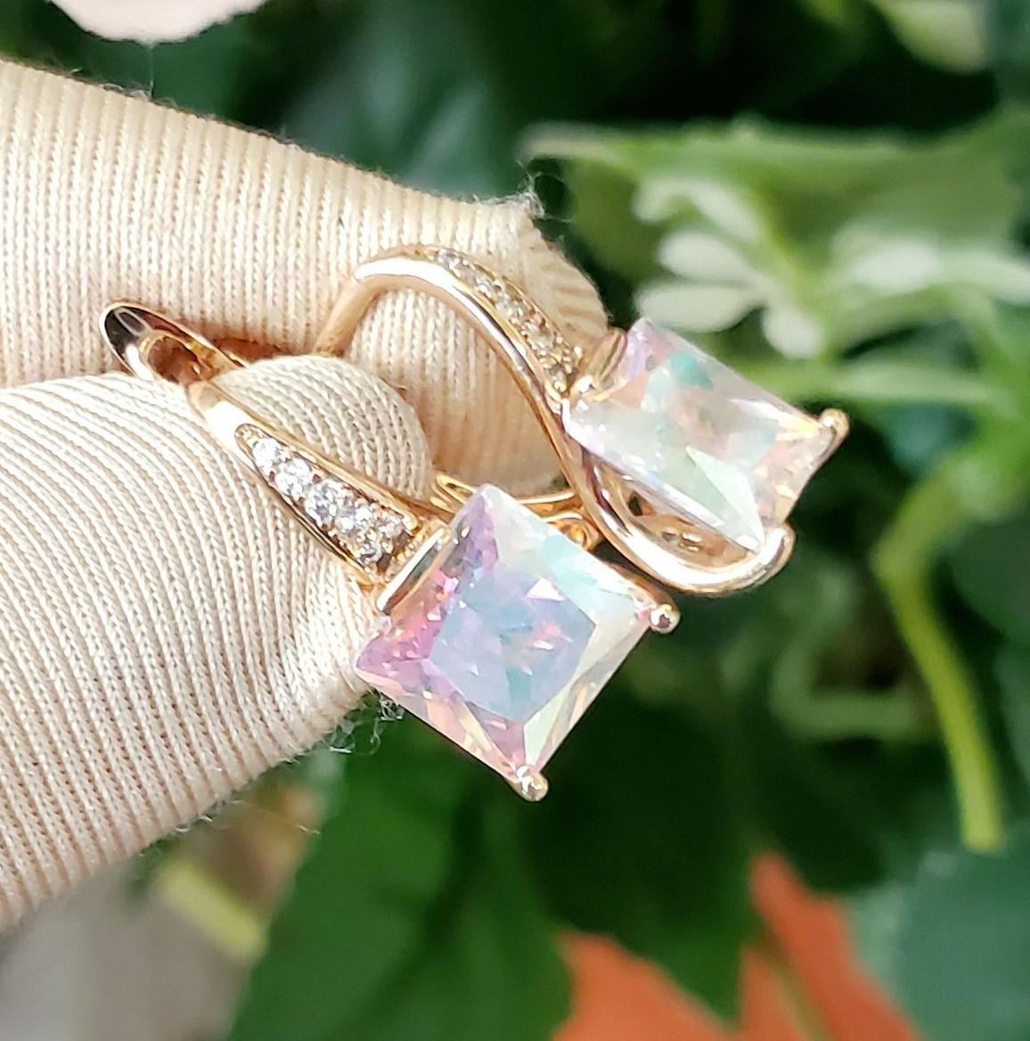 Сережки Xuping довжина 2см ширина 9мм медичне золото позолота 18К перламутровий хамелеон с1100
