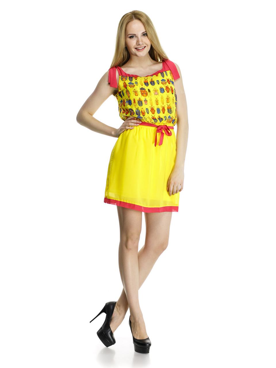 Стильное шифоновое платье. Жучок жёлтый.
